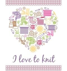 I love knitting heart vector image vector image