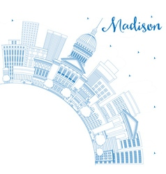 Outline Madison Skyline with Blue Buildings vector image vector image
