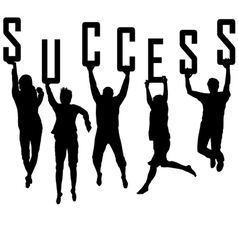 Success concept with young team silhouettes vector image vector image