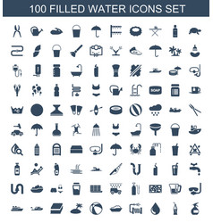 100 water icons vector