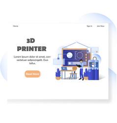 3d printer website landing page design vector image