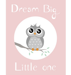 A baby owl pink background vector