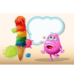 A monster watching the giant icecream vector image