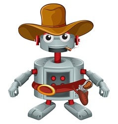 A robot with a hat and a cigar vector image