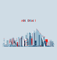 Abu dhabi skyline arab emirates flat design vector