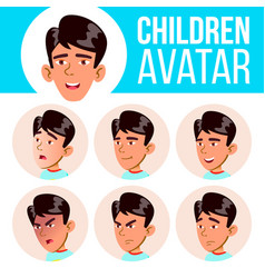 Asian boy avatar set kid primary school vector