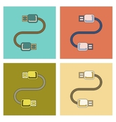 Assembly flat icon usb cable vector