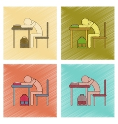 assembly flat shading style icon student sleeping vector image