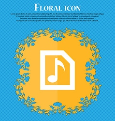 Audio MP3 file Floral flat design on a blue vector image