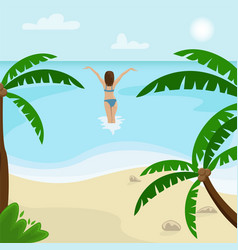 beach landscape with palm trees vector image