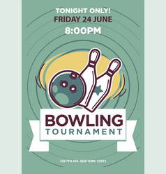 Bowling tournament poster template vector