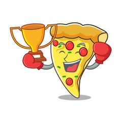 boxing winner pizza slice mascot cartoon vector image