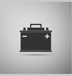 car battery icon isolated on grey background vector image