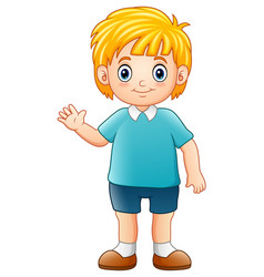 Cartoon boy waving hand vector