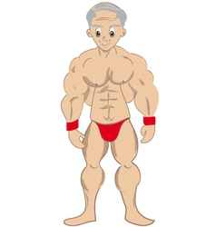 cartoon muscled old man vector image