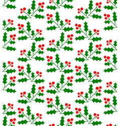 Christmas geometric seamless pattern with holly vector