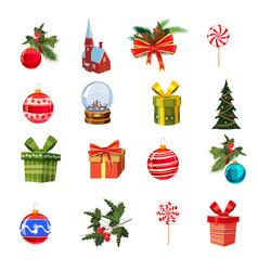 Christmas set with pine branches decorations vector