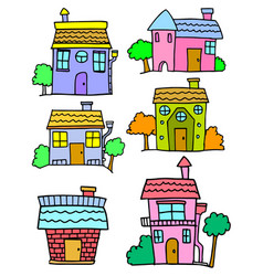 Collection of house set colorful vector