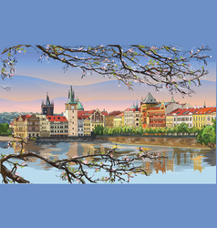 Colorful hand drawing prague 9 vector