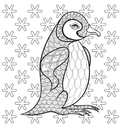 Coloring pages with king penguin among snowflakes vector