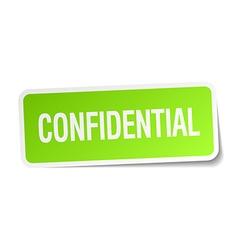 Confidential green square sticker on white vector