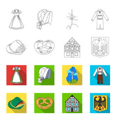 Country germany outlineflat icons in set vector