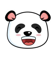 Cute panda happy emoji kawaii vector