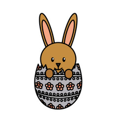 Cute rabbit with egg character icon vector