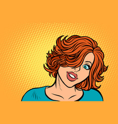 cute red-haired woman look vector image
