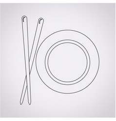 dish with chopsticks icon vector image