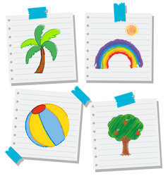 Doodles pictures on line papers vector
