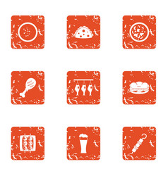 Dried food icons set grunge style vector