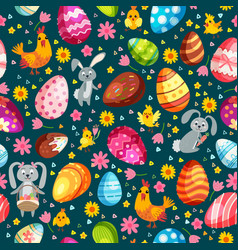 easter eggs seamless pattern holiday vintage vector image