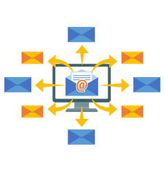 email marketing concept computer screen and vector image