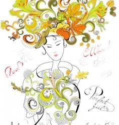 fashion girl with autumn hair vector image