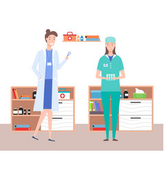 female doctors or medical staff in doctor s office vector image