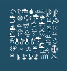 flat 8 bit meteorology icons collection of simple vector image