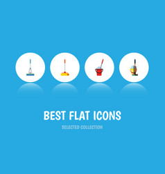 Flat icon mop set of bucket cleaning mop and vector