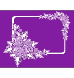 Frame with abstract flowers on lilac background vector image