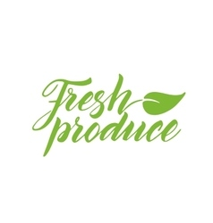 Fresh produce brush lettering isolated on white vector image