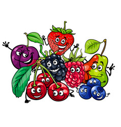 Funny fruit characters group cartoon vector