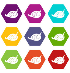 Gammon icon set color hexahedron vector