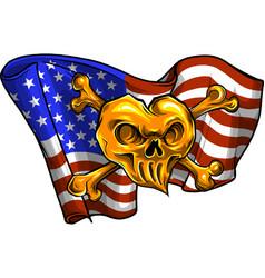 Gold skull and flag usa vector