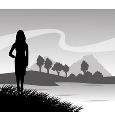 Grass landscape and woman silhouette design vector image