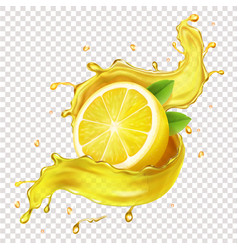 half a lemon slice in realistic juice splash vector image