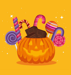 halloween card with pumpkin and candies vector image