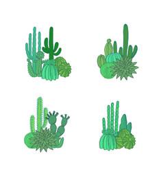 hand drawn desert cacti plants piles set vector image