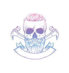 Hand drawn sketch skull with hammer vector