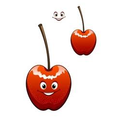 Happy ripe red cherry vector image