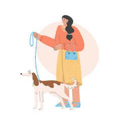 Happy woman standing with dog and holding leash vector